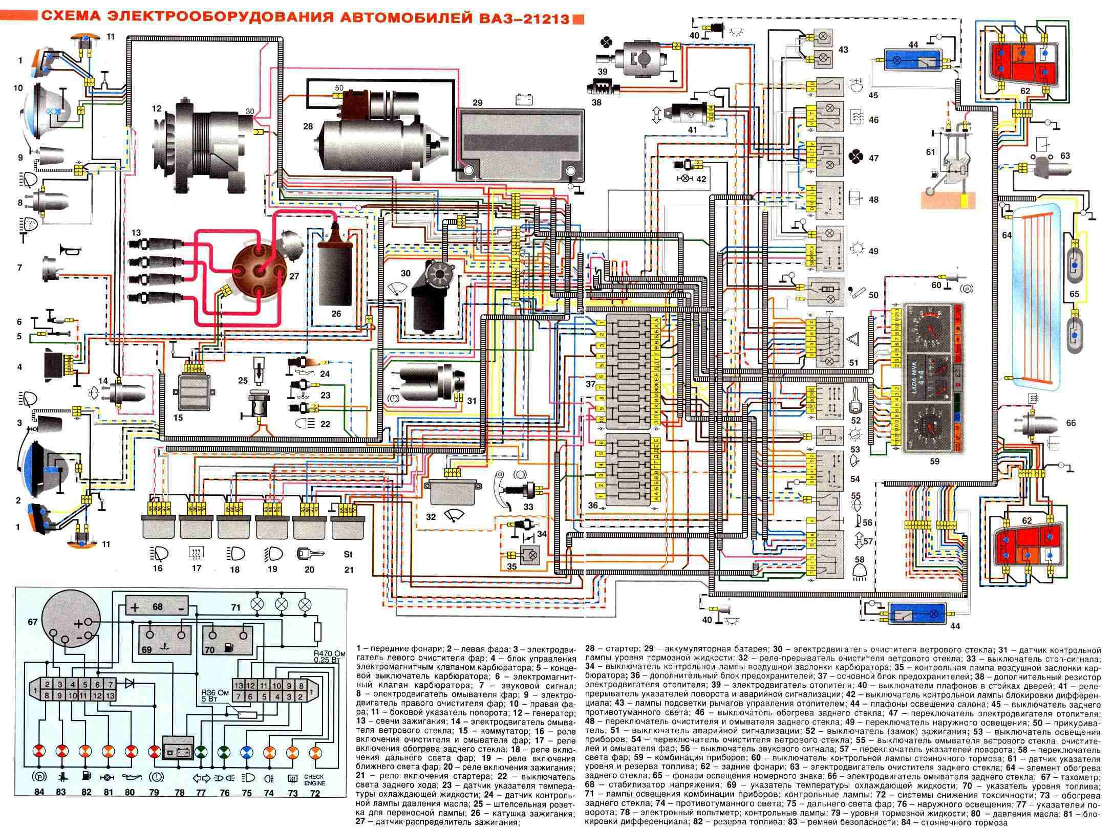 Ваз 21213 схема и описание